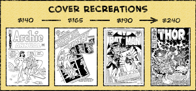 Cover recreations range from $140 to $240